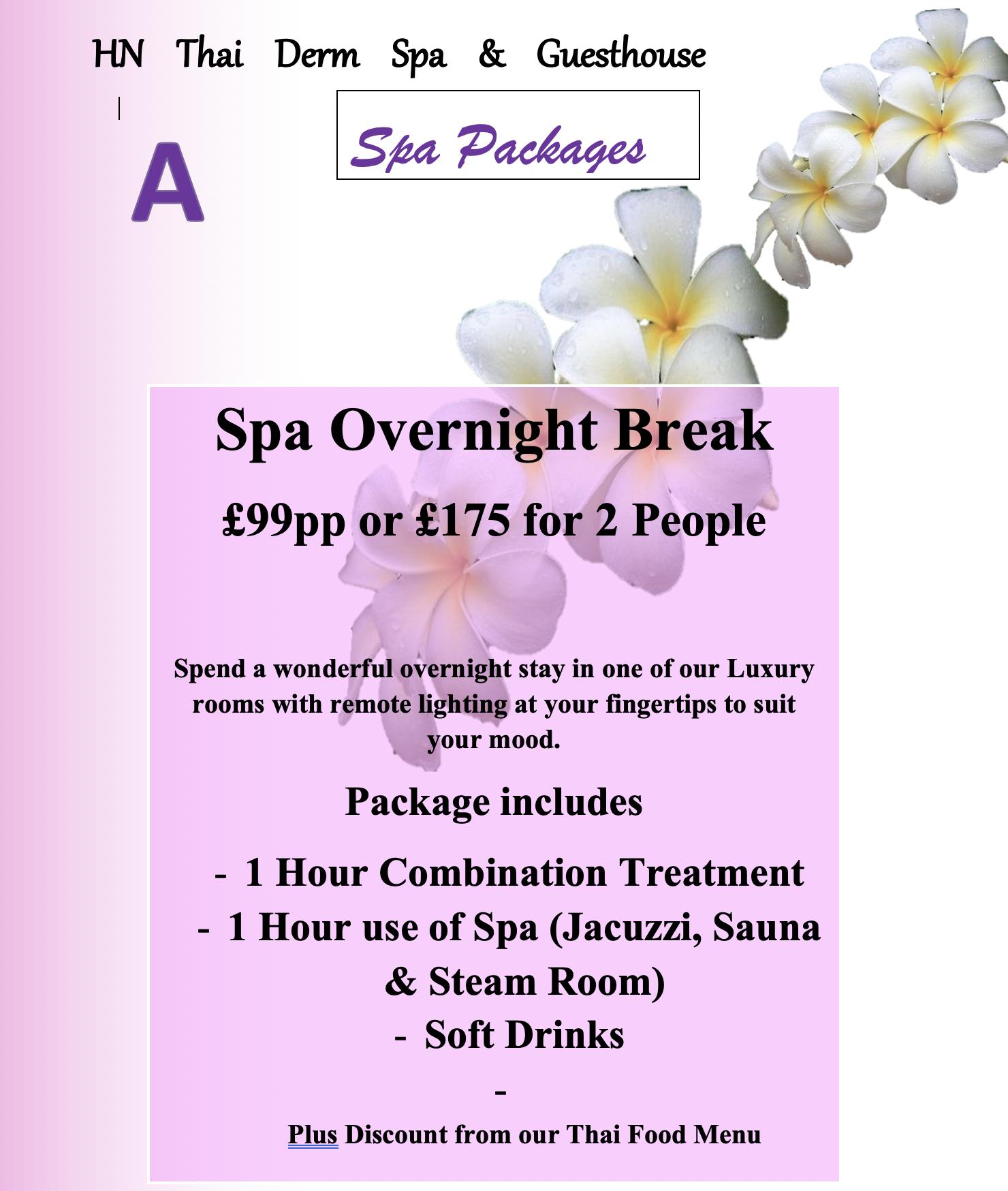 Spa Package A - Overnight Break - Thai Loughborough