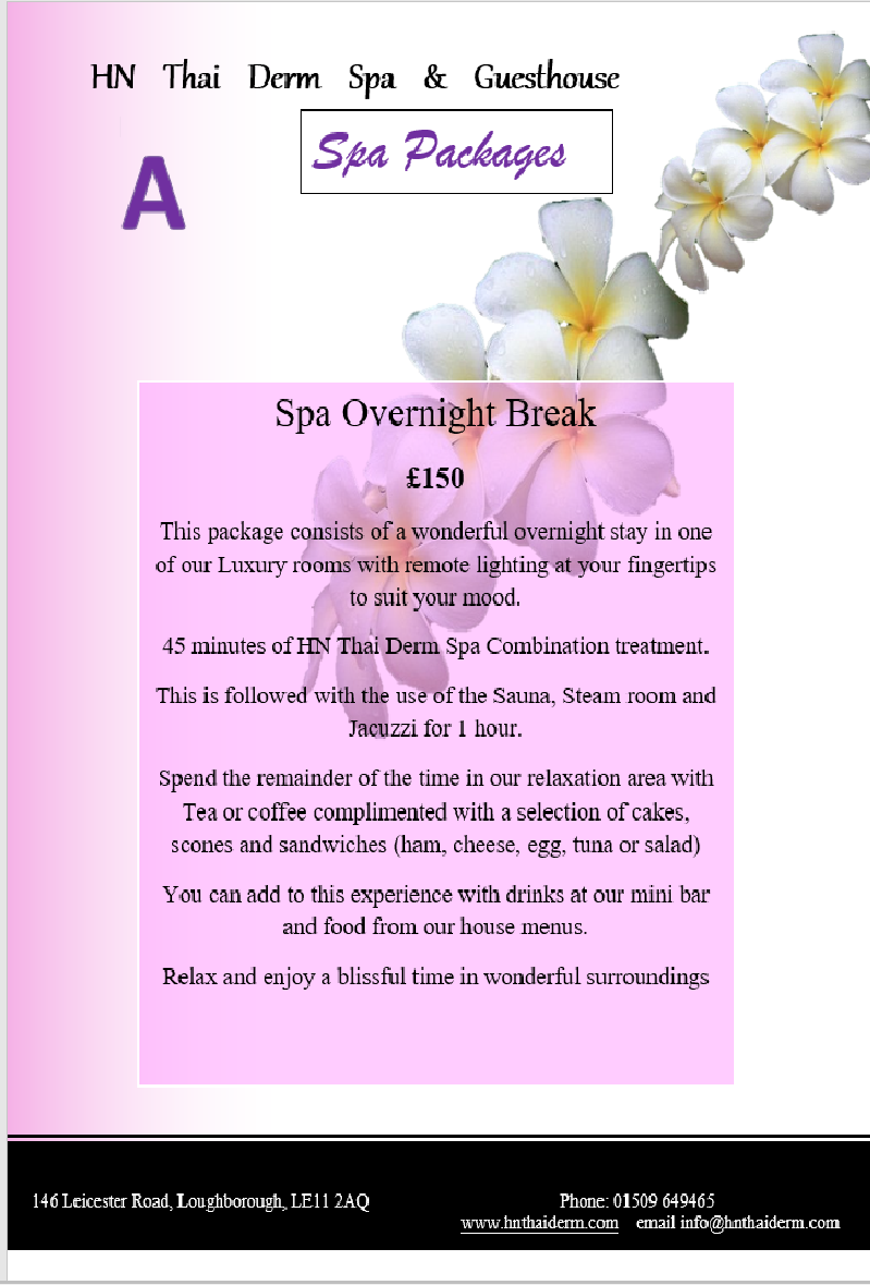 spa package a overnight break thai loughborough