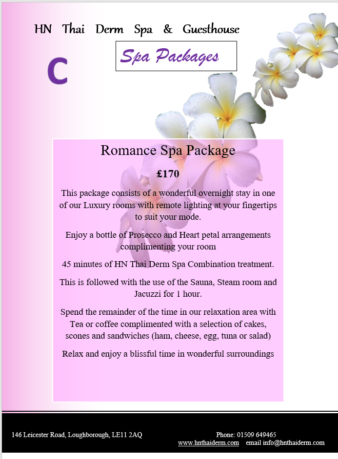 Spa package c romance spa package thai loughborough for Weekend girl getaways spa packages